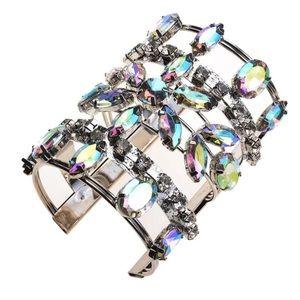 Iridescent rhinestone statement cuff bracelet